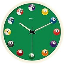 MOXIN Relojes de pared Reloj de billar personalizado Reloj luminoso Mute Salón Dormitorio Calendario Reloj de pared de mesa , 10 inches , regular edition luminous pink -240