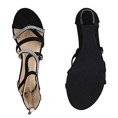 ... Damen Sandaletten Keilabsatz Metallic Strass Sommerschuhe Wedges Schwarz  Riemchen