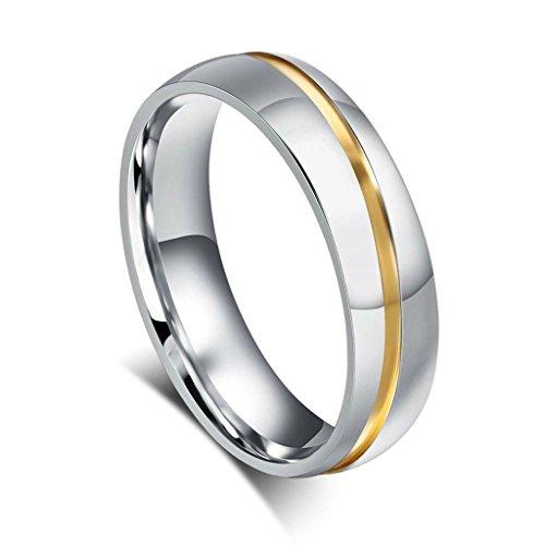Edelstahlring Paare Herren Ringe Diamant Eheringe Silber Gold Poliert Verlobungsring Größe 57 (18.1) - Adisaer (Paare Kostüme Eier)