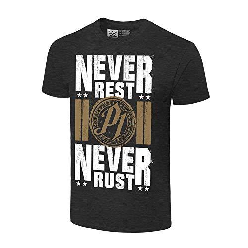 AJ Styles Never Rest, Never Rust Authentic T-Shirt - Schwarz - Mittel (Männer Für Wwe-shirts)