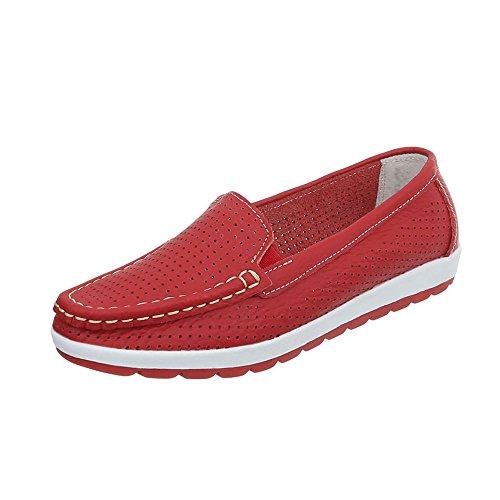 Ital-Design Mokassins Leder Damen-Schuhe Perforierte Halbschuhe Rot, Gr 36, 5006-