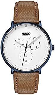 Hugo Boss Men'S White Dial Brown Leather Watch - 153
