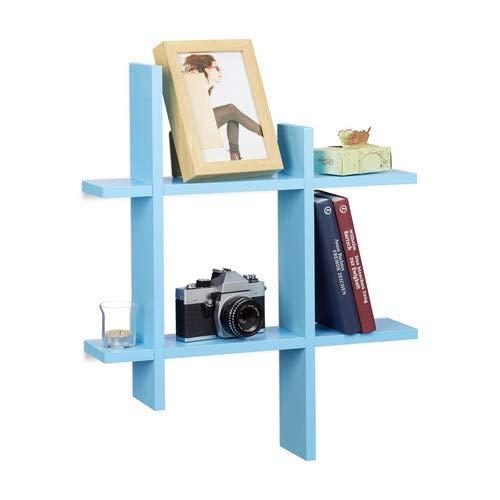 Relaxdays 10021818_45 scaffale da parete con 6 scomparti, mensole sfalsate, hxlxp 58,5 x 58,5 x 10 cm, blu