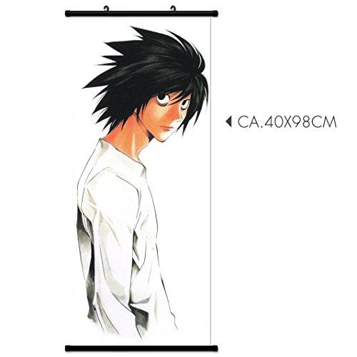Kakemono Wallscroll für Death Note L Light Wandbanner Rollbild Stoff Poster Wandbild Anime Manga (L) Death Note Stoff