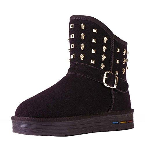 Verziert Schnee Stiefel (HooH Damen Leder Nieten Skull Warm Schneestiefel 5603-Café-40)