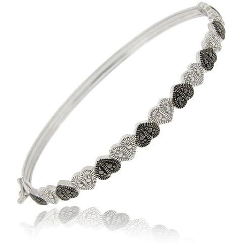 Argento Sterling a forma di cuore, diamante Accent (Accent Diamante Bracciale)
