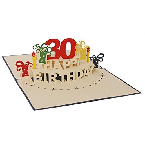 Favour Pop Up Glückwunschkarte zum runden 30. Geburtstag. Ein filigranes Kunstwerk, das sich beim Öffnen des gestalteten blauen Umschlags entfaltet. TA30B (12 x 17)