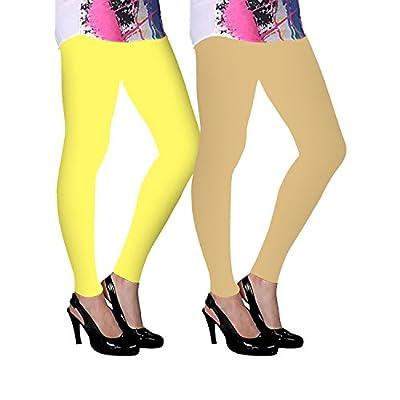 Flux Garments Multicolour (Black, Lemon Yellow, Light Skin, Magenta, Orange, Pak Green, Purple, Rani Rose, Red, Royal Blue, T Blue, White) Cotton Leggings for Women Combo (Pack of 12)