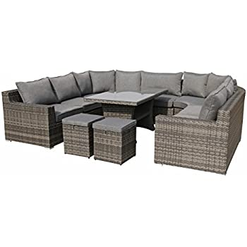 xxl hohe dining poly rattan lounge epic inkl zwei hockern von pure home garden. Black Bedroom Furniture Sets. Home Design Ideas