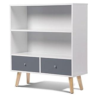 IDMarket - Bibliothèque EFFIE scandinave bois blanc et gris