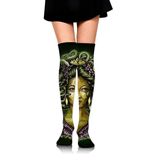 HRTSHRTE Halloween Medusa Snake Ankle Stockings Over The Knee Sexy Womens Sports Athletic Soccer Socks