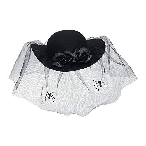 er Schwarze Witwe mit Schleier & Spinnen / Halloween Damenhut / Kostüm Zubehör ()