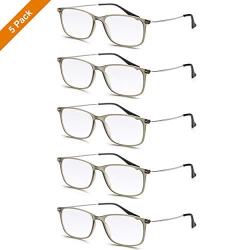 Read Optics 5er Pack Lesebrillen für Damen/Herren: Premium Difuzer Gläser in Stärke +2,0 Dioptrien. Rechteckige Brillen im Vintage-Stil, matt Grauer Polykarbonat-Ramen und Bügel aus rostfreiem Stahl