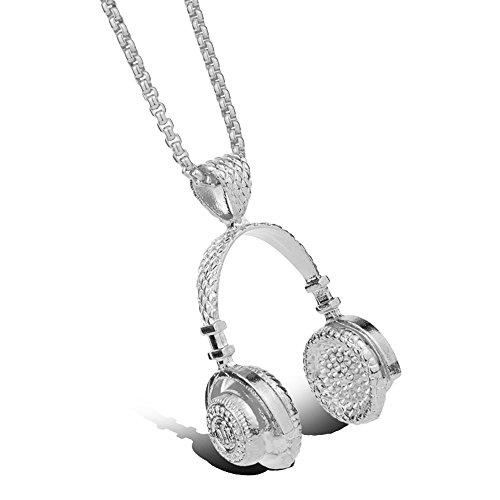 skyoo DJ auriculares Steampunk cadena de acero inoxidable colgante collar vintage latón declaración collar para hombres mujeres amantes de la música regalo plateado plata