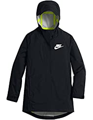 Nike G Nsw Jkt Hd Rain Chaqueta, Niñas, Negro (Black / Black / Volt), XS