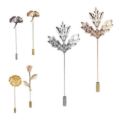 Pin Boutonniere Set, Lange Nadel Stecker Camellia / Maple Leaf / Ginkgo biloba / Rose Corsage für Anzug Kleid (Anzüge Bietet)