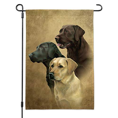 (GRAPHICS & MORE Labrador Retriever Trio Hunde Portrait Garten Hof Flagge mit Stangenhalter)