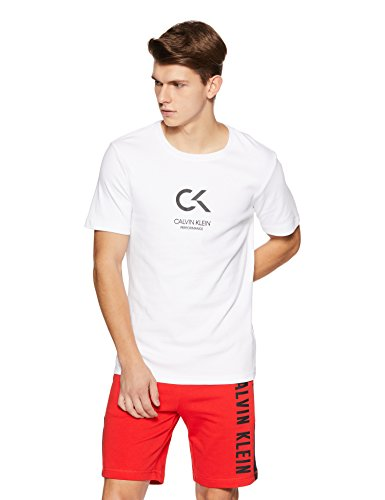 Calvin Klein Performance Men's Solid Regular Fit T-Shirt (4mf8k156100!_Bright White!_Small)