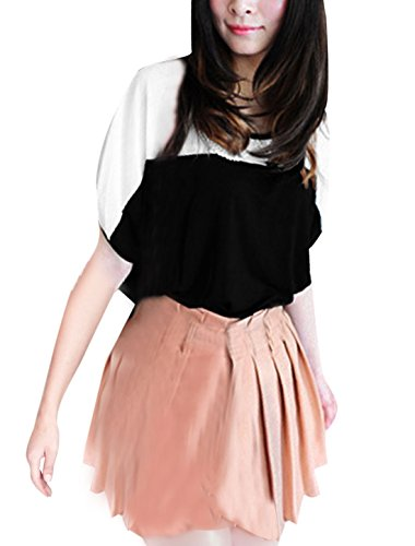 sourcingmapr-women-scoop-neck-colorant-match-hollow-out-batwing-sleeved-blouse
