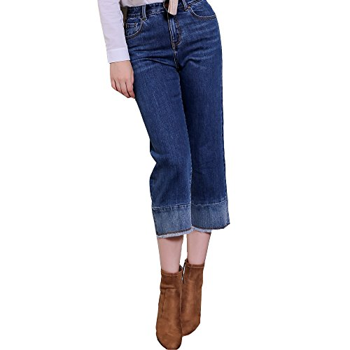 Track Seven Damen Loose Fit Jeans mit Faded Bootcut Denim Jeans Blau M (Jeans Faded Denim Bootcut)