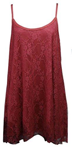 Flirty Wardrobe Débardeur à fines bretelles pour femme Dentelle florale Swing Robe avec taille 12–26 Noir - Bordeaux