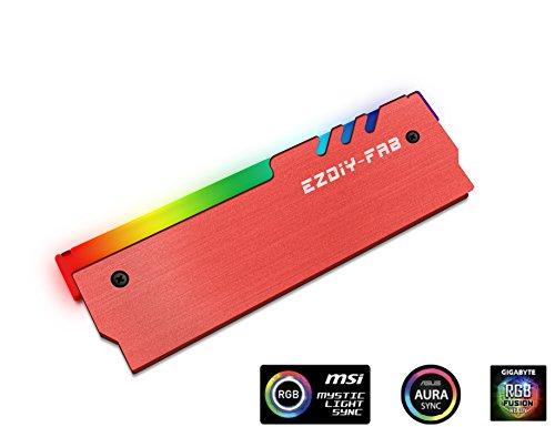 EZDIY-FAB ARGB RAM Kühler RGB DDR Speicher Kühlkörper Kühlweste Fin Strahlung für DIY PC DDR3 DDR4 (kompatibel mit ASUS Aura Sync, GIGABYTE RGB Fusion und MSI Mystic Light Sync) Rot-1 Pack -