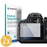 smartect Canon EOS 700D / 750D / 70D / Rebel T5i Panzerglas Folie [2 Stück] - Displayschutz mit 9H Härte - Blasenfreie Schutzfolie - Anti Fingerprint Panzerglasfolie