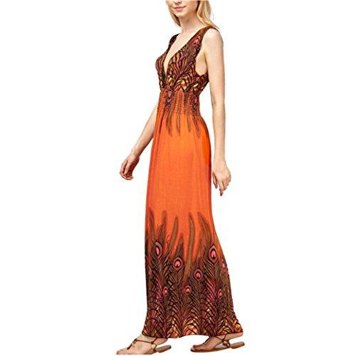 Bekleidung Longra Sommerkleid Damen Pfau drucken ärmelloses Beach Kleid Boho Damen Party lange Maxi Abendkleid (Free Size(Bust:86-110cm/33.9-43.3), Orange)