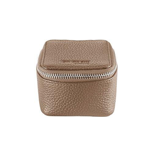 CHI CHI FAN Ring Box - Stone | Schmuckkästchen aus echtem Leder | Top Qualität und klares Design treffen auf maximale Funktion | Optimaler Schutz für Schmuck wie Ringe, Ohrringe oder Uhren
