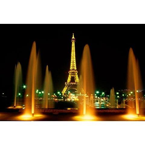 MJEL Torre fontana notte paesaggio pittura murale con luce a LED per la casa senza (Fiore Fontana Parete)