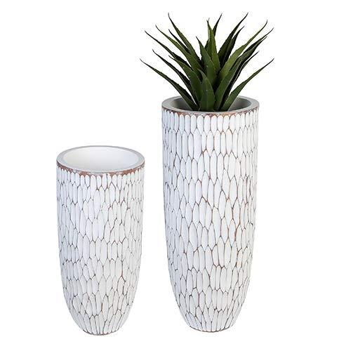 Casablanca Diseño Jardinera Vancouver Poly/Fibra de Vidrio Blanco/marrón-tibamé Natural...