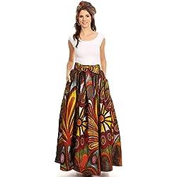 Sakkas 16317 - Asma Convertible Tradicional Cera de impresión Correa Ajustable de la Falda Maxi | Vestido - 501-Multi - OS
