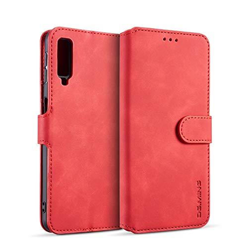 zanasta Echt Ledertasche kompatibel mit Samsung Galaxy A7 (2018) Hülle Premium Leder Tasche mit Kartenfächern, Schutzhülle Rot