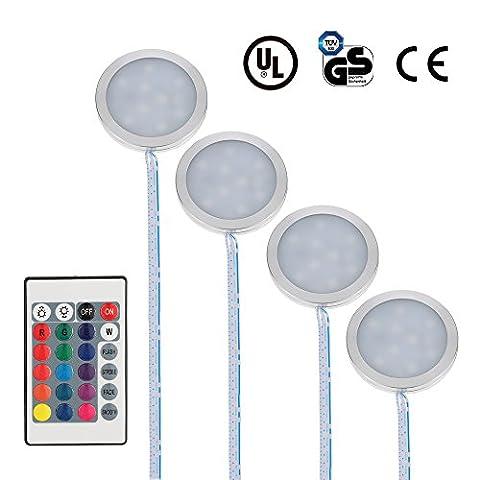 Docooler LED Under Cabinet Light Kit 9LEDs RGB Puck Lamp IR Remote Control Multi Color Dimmable Under Counter Lighting Mood Light for Under Kitchen Display Closet Book Shelf (4