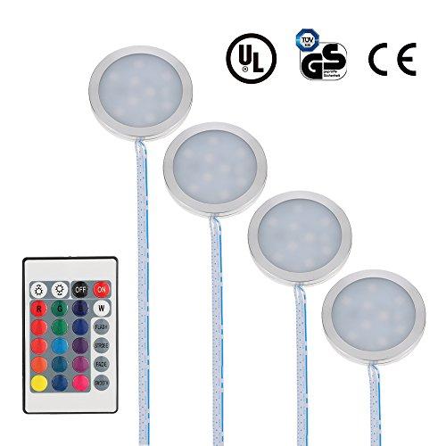 Docooler LED Under Cabinet Light Kit 9LEDs RGB Puck Lamp IR Remote Control  Multi Color Dimmable Under Counter Lighting Mood Light For Under Kitchen  Display ...