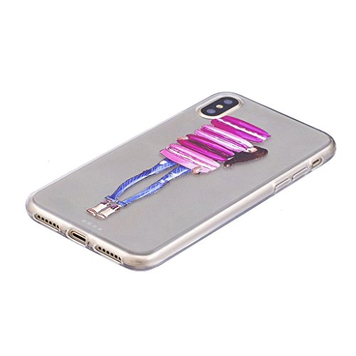 Per iPhone X Cover , YIGA bianco fiore Cristallo Trasparente Silicone Morbido TPU Case Caso Shell Protezione Copertura Custodia Copertina per Apple iPhone X (5,8 pollici) FD22
