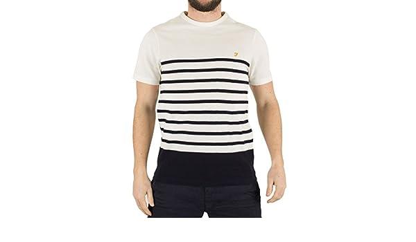 1c69df3d72 Mens Farah Vintage True Navy Hampstead Honeycomb Striped Logo T-Shirt - L:  Amazon.co.uk: Clothing
