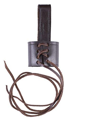 Battle-Merchant Einfacher Gürtelhalter für Dolche aus Leder Größenverstellbar (Braun)