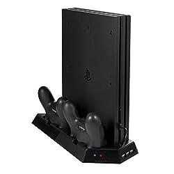 Younik VG-06 PS4 Pro Vertical Stand Cooling Lüfter mit Dualshock Controller Ladestation 3 Port USB Hub für PlayStation 4 Pro