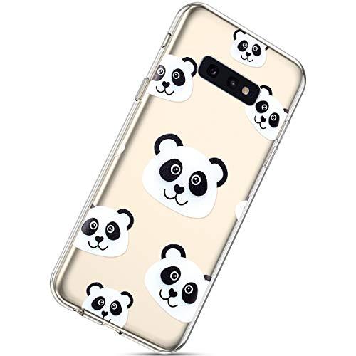 Herbests Kompatibel mit Samsung Galaxy S10e Hülle Silikon Handyhülle Durchsichtige TPU Case Clear TPU Schutz Handytasche Crystal Clear Schutzhülle Weiche Silikon Bumper Case,Schwarz Panda