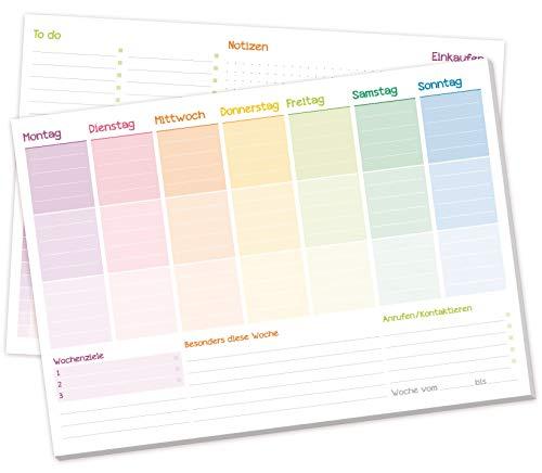 Wochenplaner Block A4 ohne festes Datum [Rainbow] Terminplaner mit To-Do-Liste, Einkaufsliste, großem Notizfeld und vielem mehr - von Trendstuff by Häfft | klimaneutral & nachhaltig