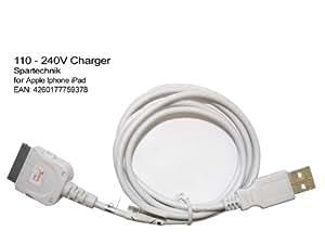 USB Sync- & Ladekabel für iPad iPhone - Datenkabel mit Ladefunktion Apple iPhone 3G 3GS 4G iPad - weiss