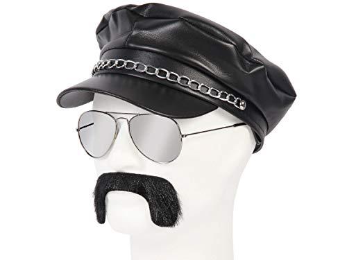 Alsino 80er Jahre Rocker Outfit - 3-teilig (Kv-146) Greek Cap Schwarz Plus Schnurrbart und ()