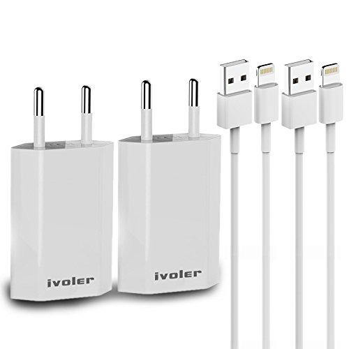 [2 Stücke] iVoler Ladeset - USB Ladekabel 1M + 1A Netzteil Netzstecker für iPhone X, 8, 8 Plus, iPhone 7, 7 Plus, 6s Plus, 6s, 6 Plus, 6, SE, 5s, 5c, 5, iPad mini/mini 2 /mini 3/mini 4,iPad 4/5,iPad Air/Air 2,iPod Nano / Touch - Weiß (4. Generation Ipod Nano Cover)