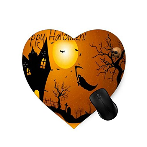 Gaming Mouse Pad Fliegen Sensenmann Orange Kürbisse Happy Halloween Card Design für Desktop und Laptop 1 Pack Heart-shaped Maus Matte (Happy Desktop Halloween)