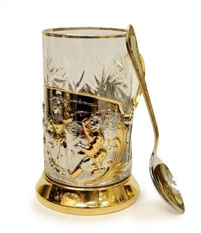 Baila potable oro, niquelado cristal soporte Podstakannik by kolchuginsky empresa metalúrgica