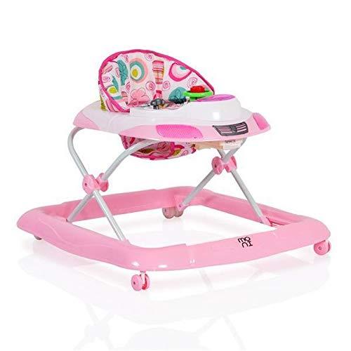 Lauflernhilfe Marty in Form eines Autos, höhenverstellbar mit Spielcenter rosa