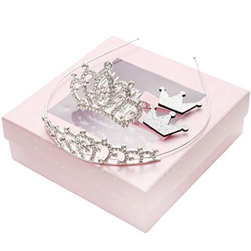 Xinlie Prinzessin Tiara Crown Set Weibliches Baby Stirnband Mädchen verkleiden sich Party-Zubehör Prinzessin Tiara Set Hochzeit Diadem Braut Krone Kopfbedeckung Kopfbedeckung für Kinder 1 Set(4 Stück)