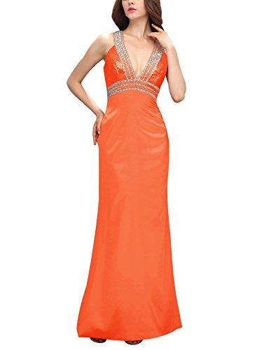 Bbonlinedress Robe de cérémonie Robe de soirée en satin emperlée col en V dos nu longueur ras du sol Orange