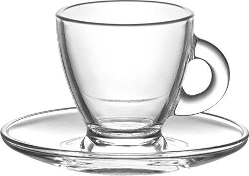 LAV 12-teiliges Tassen-Set 6x Tassen 6x Untertassen hochwertiges Glas 225 ml ideal für alle Heißgetränke (Tee,Kaffee,Espresso,Kakao)